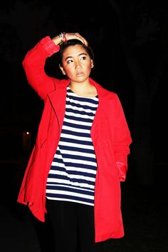 Benetton red coat, striped t-shirt, make up, streetstyle