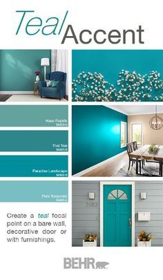 Teal Accent Walls, Accent Wall Colors, Teal Accents, Blue Walls, White Walls, Bedroom Paint Colors, Bathroom Colors, Kitchen Colors, Teal Paint Colors