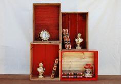 caisses peinture rouge en fond