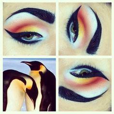 Penguin inspired makeup.