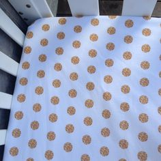 Image of Gold dot fitted cot sheet