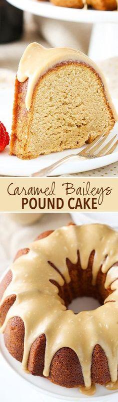 Baileys Pound Cake Caramel Baileys Pound Cake - soft, moist and full of Baileys and caramel flavor! I'm in love!Caramel Baileys Pound Cake - soft, moist and full of Baileys and caramel flavor! I'm in love! Brownie Desserts, Mini Desserts, No Bake Desserts, Just Desserts, Delicious Desserts, Dessert Recipes, Desserts Caramel, Delicious Cookies, Baking Desserts