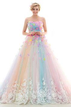 レインボーカラードレス プリンセス パッスル付き カラフルドレス リボン飾り 豪華な刺繍とビーズ LD4156