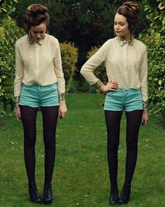Sparkle- Chiffon Top with detailed collar, light jean shorts and black tights