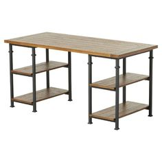 Give your space an urban update with the industrial-inspired Desk. The clean-lined silhouette features hollow metal legs reminiscent of exposed pipes in vintage factories, and natural shelves give warmth to every office or writing nook. Open shelves allow plenty of light to shine through, offering the perfect stage for your favorite décor.