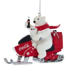 Kurt Adler Coca-Cola Polar Bear With Cub Riding Snow Mobile Ornament Garrafa Coca Cola, Coca Cola Vintage, Train Ornament, Coca Cola Polar Bear, Coca Cola Christmas, Always Coca Cola, Coca Cola Bottles, Red Scarves, Gatos