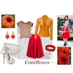 Flowers - coneflower by cardissa on Polyvore featuring polyvore, fashion, style, Doublju, Lady Fox, Missoni and Chicwish