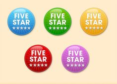 5 Round Glossy Star Badges Vector Set - http://www.welovesolo.com/5-round-glossy-star-badges-vector-set/