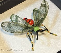 Beaded Wasp Orange Black Chartreuse Shadowbox by AuroraRosealis