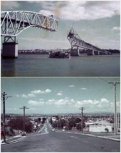 The Auckland Harbour Bridge, built between 1956 and changed the city's North Shore from a string of seaside villages into a large commuter suburb Beautiful Islands, Beautiful Places, Boat Decor, Kitchen Extensions, Auckland New Zealand, Seaside Village, Kiwiana, Old Images, Skateboard Art