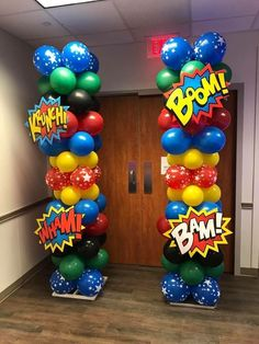 Superhero Birthday Party Balloon ColumnsYou can find Superhero party and more on our website. Superman Birthday Party, Avengers Birthday, Batman Party, 4th Birthday Parties, Birthday Party Decorations, Superhero Theme Party, Avengers Party Decorations, 5th Birthday, Superhero Cake