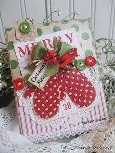 Cottage christmas mittens MERRY TIS the SEASON christmas memories handmade card