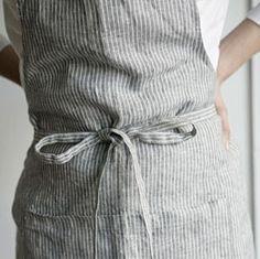 Stripe Linen Apron AL-016-Ollko linen
