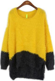 Yellow Green Long Sleeve Plush Pullovers Sweater