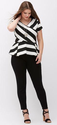 Plus Size Striped Peplum Top