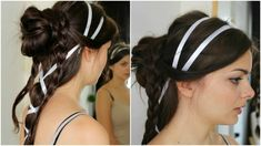 hairstyle with several braids and a bun, decorated with white ribbon, worn by brunette woman, seen from two angles Side Braid Hairstyles, Loose Hairstyles, Dark Hair, Brown Hair, Cute Side Braids, Renaissance Hairstyles, Braid Designs, Brunette Woman, Long Braids