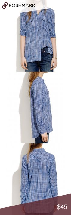 MADEWELL EX BOYFRIEND INDIGO BUTTON DOWN SHIRT L MADEWELL  EX BOYFRIEND INDIGO WEAVE BUTTON DOWN BLOUSE SHIRT  Slightly oversized (go ahead and roll the sleeves) in shades of summery indigo. • Boyfriend fit. • Cotton. SZ L  RETAILS $80 Madewell Tops Button Down Shirts