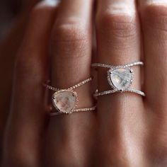 14kt gold and diamond Double Band Moonstone ring – Luna Skye by Samantha Conn  Prettiest rings. I want