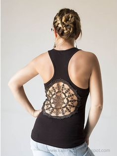 Katrinshine: Tutorial - Tanks with upcycled vintage crochet doily back-- great tutorial, or if you're not crafty message me! haha I'll make you one from Zef Zoni's Clothing Co. =) #DIY or #PayForIt lmao #UpcycledClothing