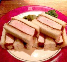 """katsu-sando"" カツサンド Tonkatsu, Pork Cutlets, Junk Food, Japanese Food, Tuna, Sandwiches, Bread, Fish, Foods"