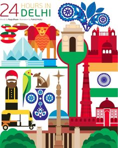 Lovely illustration which features Dehli& iconic auto rickshaws and some of the cities landmarks such as the Lotus Temple, Red Fort, and the Qutab Minar. Delhi Map, Delhi India, Travel Illustration, Graphic Illustration, World Cities, Map Design, Travel Themes, Vintage Travel Posters, Cartography