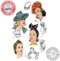 "E-Pattern- 1940s Hat Wardrobe Size 22""- Beret- Turban- Fedora-  PDF Download Vintage Wearing History Sewing Pattern by WearingHistory on Etsy https://www.etsy.com/listing/223818223/e-pattern-1940s-hat-wardrobe-size-22"