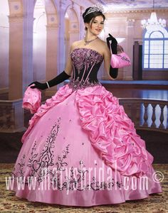 Elaborate two-piece gown with embellished contrast satin corset bodice, detachable cap sleeves not shown, lace-up back, taffeta skirt features bubble top split front skirt with embroidered hem, rhinestones/beads/sequins, bolero/handbag. Detachable skirt.