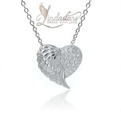 Dress up your simple formal attire with this Angel of True Love Necklace. Add this majestic half-heart and half-angel wing pendant, which is inspired by mystical angelic presence with flying wings. The heart shaped pendant on either side or flying angel wing on other shimmers in the brilliance of angel's wisdom.  You will look more glamorous and eye-catchy wearing this divine necklace.
