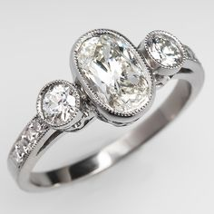 IN MY DREAMS!!!! Vintage Three Stone Oval 1 Carat Diamond Engagement Ring Bezel Platinum