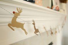 DIY Santa & Reindeer Garland, The Proper Pinwheel, Mission: Merry 2012, Holiday DIY, Mantle Decorations