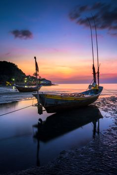Fishing boat at Rayong beach ,Thailand - null