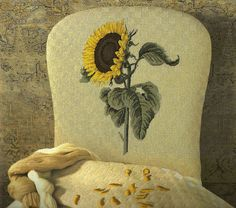 Sunflower in needlepoint made into a chair.