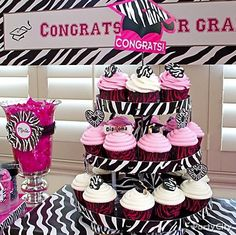 Your grad & her girls will love a pink and zebra cupcake tower for her graduation party!