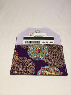 Purple and Gold Mandala Print Snap Wallet, Mandala Print Mini Wallet, Handmade Small Wallet, Rosary Pouch, Coin Purse, Loyalty Card Wallet by AmyReneeNicosia on Etsy