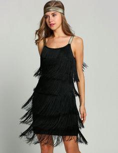 Women Straps Tassels Glam Gatsby Fringe Flapper Costume Party Dresses