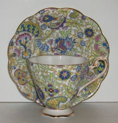 Royal Standard Green Paisley Chintz Cup and by EricksonExchange