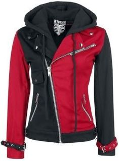 Women's Psychotic Harley Quinn Red & Black Biker Cotton Hoodie Jacket for sale online Punk Outfits, Casual Outfits, Fashion Outfits, Cheap Fashion, 50 Fashion, Fashion 2018, Fashion Styles, Fashion Women, Fashion Online