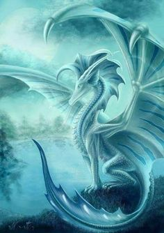 Avalon by Anja Kostka (Cool Art Anime) Water Dragon, Blue Dragon, Mythical Creatures Art, Magical Creatures, Fantasy Dragon, Fantasy Art, Fantasy Wesen, Mystic Dragon, Mythical Dragons