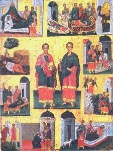 Βυζαντινή αγιογραφία, Αγιοι Ανάργυροι Byzantine Art, Orthodox Icons, Christian Faith, Catholic, Saints, Religion, Museum, Symbols, Gallery