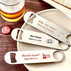 Add a stylish finish to your event tables and offer guests a functional favor with our Personalized Stainless Steal Bartenders Bottle Opener Anniversary Favors. Anniversary Party Favors, Engagement Party Favors, Unique Wedding Favors, Birthday Favors, Wedding Gifts, 65th Birthday, Birthday Decorations, Wedding Bells