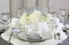 fascinating table decoration ideas white flowers silver snowflakes · Winter Wonderland ... & Winter Wonderland decor! | My FairyTale Winter Wonderland Wedding ...