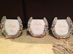Lucky horse shoe wedding table numbers