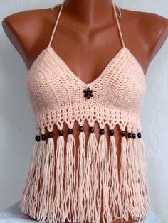 Bademode - Gestrickte Badeanzug, sexy Häkel-Bikini-Oberteil m - ein Designerstück von Strickte-Art bei DaWanda