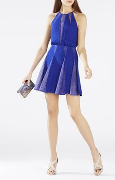 teena lace inserts halter dress. bcbg.