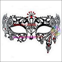 Half Face Gold Filigree Metal Silver Laser Cut Color Rhinestone Black Venetian Carnival Masquerade Mardi Gras Mask Red Crystal