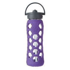 Glass Water Bottle with Straw Purple Drink Bottles 2b48e69088d8