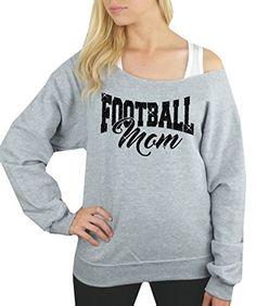 e25042a8ebd6ce Bella Designs Activewear Glitter Football Mom Off Shoulder Slouchy  Sweatshirt with Raw Edge