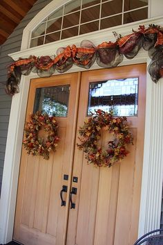 Fall Door Decoration with Poly Deco Mesh