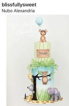 Boys 1st Birthday Cake, Jungle Theme Birthday, Colorful Birthday Party, Birthday Cakes, Zoo Cake, Jungle Cake, Baby Boy Cakes, Baby Shower Cakes, Bolo Zoo
