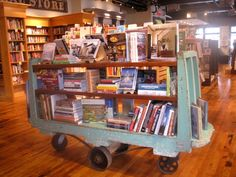 An old industrial cart used as a focal point display.
